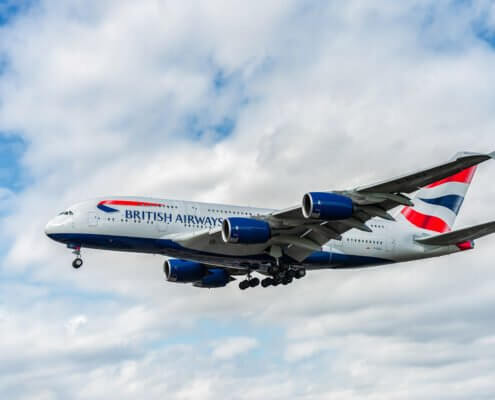 British Airways Airbus A380-800 Aircraft on approach