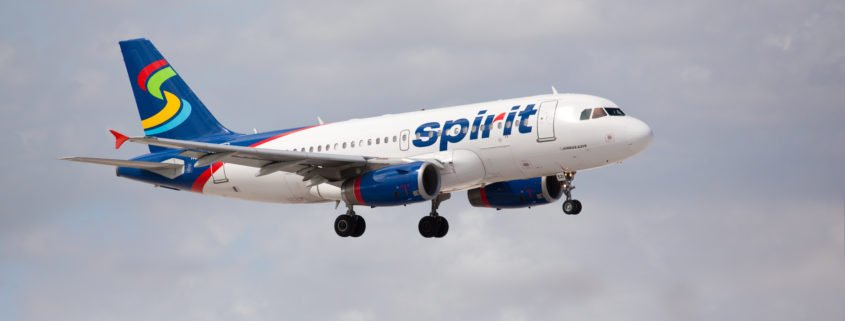 Spirit Airlines A319 on approach