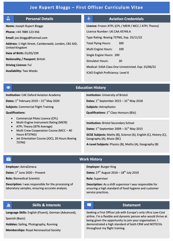 Free Pilot CV Example Template
